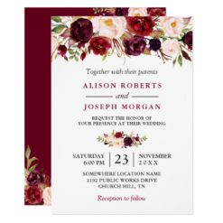 Watercolor Burgundy Red Floral Rustic Boho Wedding Invitation Card
