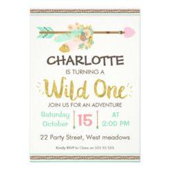 Wild One Tribal Arrow 1st Birthday Invitation