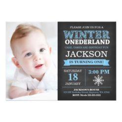 Winter ONEderland Chalkboard Boy Blue 1st Birthday Card