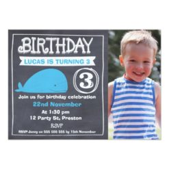Boys Chalkboard Whale Photo Birthday Invitation