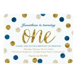 1st Birthday-Navy and Gold Glitter Card