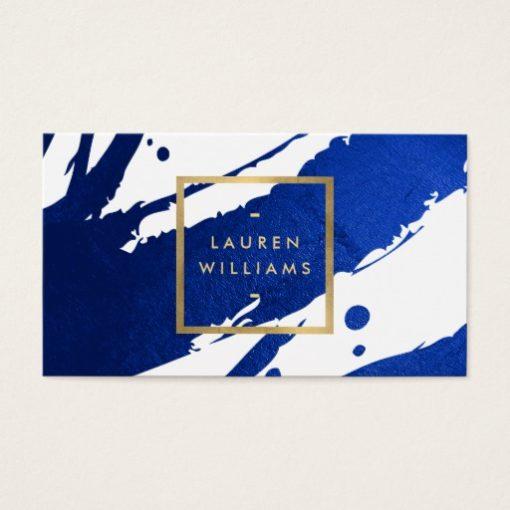 Abstract Indigo Blue Brushstrokes Business Card