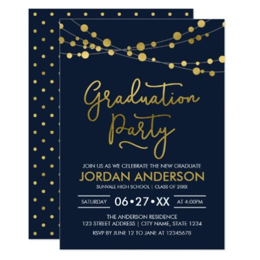 Blue Faux Gold Strings of Lights Graduation Party Card