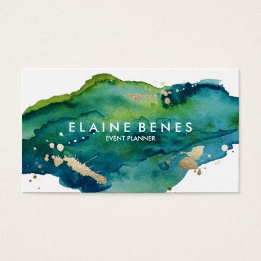Blue Green and Gold Splatter Business card