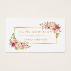 Chic Floral Gold Frame Makeup Artist Beauty Salon Business Card