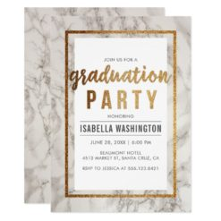 Chic Gold & Marble Typography Graduation Party Card