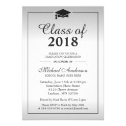 Classy Silver Gradient Class Of Graduation Party Card