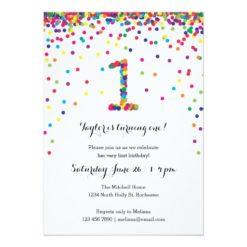 Colorful Confetti 1st Birthday Party Invitations