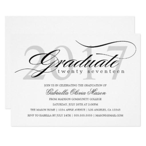 Custom Year Elegant Graduate | Graduation Party Card