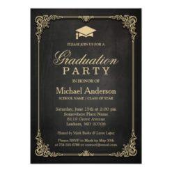 Elegant Black Gold Vintage Frame Graduation Party Card