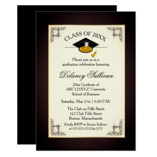 Elegant Formal Gold College Graduation Party Card