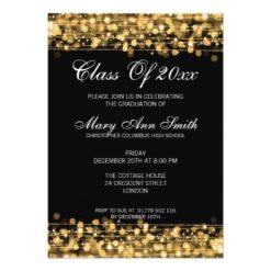 Elegant Graduation Party Gold Lights & Sparkles Card