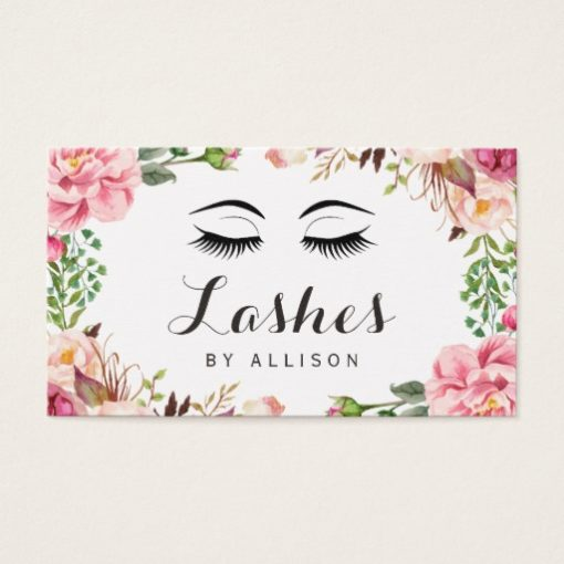 Eyelashes Makeup Artist Romantic Floral Wrapping Business Card