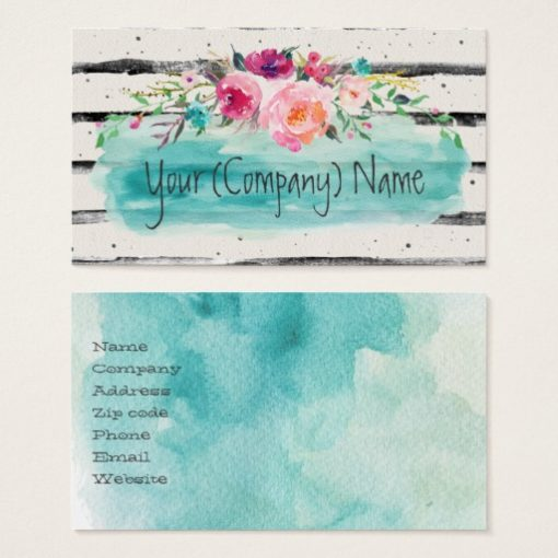 Floral Turquoise Pink Watercolor Bouquet Business Card