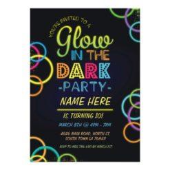 Glow In The Dark Birthday Invite Neon Kids Party