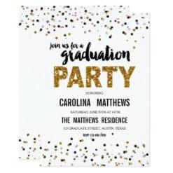 Gold Glitter Polka Dot Graduation Party Invitation