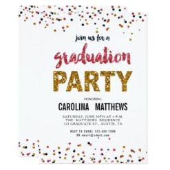 Gold Pink Confetti Graduation Party Invitation