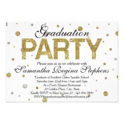 Gold Sparkle Confetti Graduation Party Card