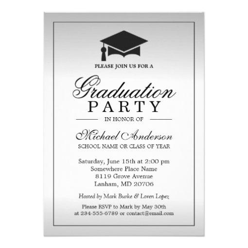 Graduation Party - Stylish Silver Metallic Look Card