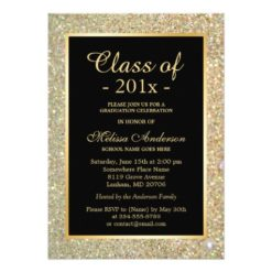 Graduation Party Trendy Gold Glitter Sparkles Card