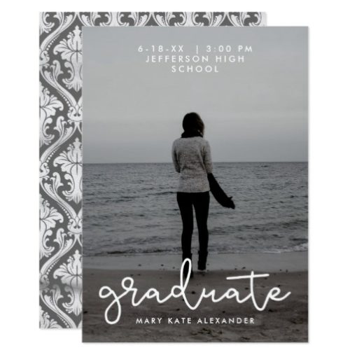 Gray and White Graduation Photo Announcement