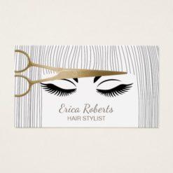 Hair Stylist Gold Scissor & Girl Hair Salon Business Card