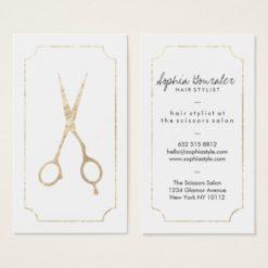 Hair stylist elegant faux gold scissors white chic business card