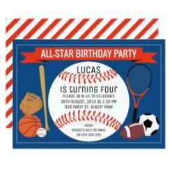 Kids Baseball Sports Birthday Party Invitation