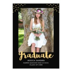 Modern Black Gold Photo Graduation Party Card