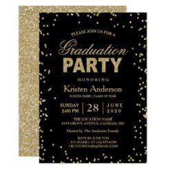 Modern Gold Glitter Sparkles Graduation Party Card