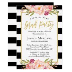 Modern Stripes Floral Gold Script Graduation Party Card