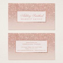 Modern faux rose gold glitter blush ombre makeup business card