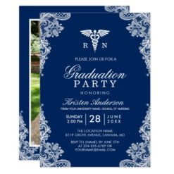 Navy Blue Lace Nursing School Graduation Party Card