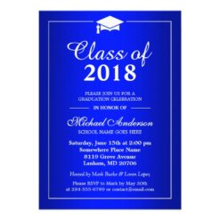 Plain Royal Blue Class Of 2018 Graduation Party Card