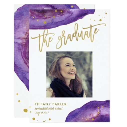 Purple and Faux Gold Geode Graduation Party Photo Card