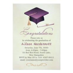 Purple mortar and diploma Graduation Party Card