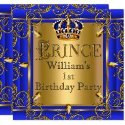 Royal Blue Gold Crown Prince 1st Birthday Boys 2 Card