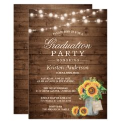 Rustic Sunflowers String Lights Graduation Party Card