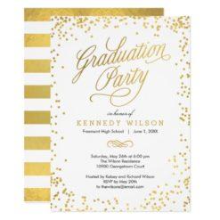 Shiny Confetti Graduation Party Invitation White