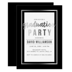 Sleek Silver & Black Typography Graduation Party Card