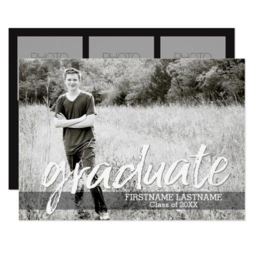 Trendy Graduation Announcement with 4 Photos
