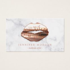 Trendy Marble Rose Gold 3D Lips Makeup Artist Business Card