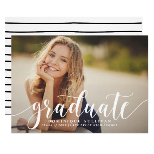 White Modern Calligraphy Graduation Announcement